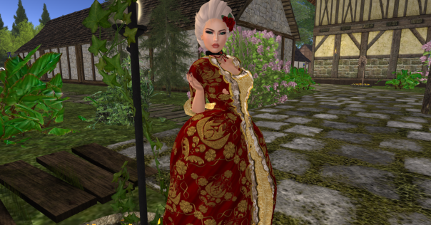 TFF Baroque dress, red, hair accesssory in red, tintable hair and a choker_002_002